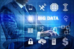The big data modern computing concept with businessman stock photography