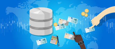 Big data monetization selling database pay with money for storage world online block chain. Vector Stock Images