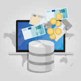 Big data monetization selling database pay with money for storage world online block chain. Vector Royalty Free Stock Photography