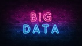 Big data neon sign, great design for any purposes. 3d render. Modern design. Retro emblem design. Slot neon sign. Decoration. Element. Futuristic concept vector illustration