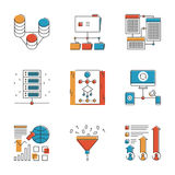 Big data and network analysis line icons set Royalty Free Stock Image