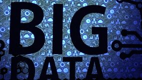 Big data objects icon gathering on the screen HUD abstract background with blue light color