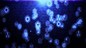 Big data objects icon in hexagon shapes hovering on the randomising numbers background with blue color
