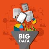 Big data process analysis filter information. Vector illustration Stock Image