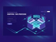 Big data processing and calculating process, server room, web hosting vps server room, database isometric vector dark. Neon vector illustration