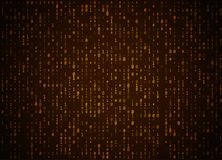 Vector binary code golden background. Big data and programming hacking, deep decryption and encryption, computer streaming numbers Stock Photography