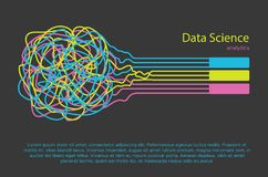 Big data science illustration. Machine learning algorithm for information filter and anaytic in flat doodle style. Big data science illustration. Machine vector illustration