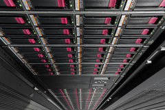 Big data serer in rack. With multiple hard drives stock images