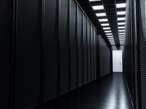 Big data server room. Dark server room big data center storage. Domain datacenter interior. Mining cryptocurency farm. Data center black tower computers row Royalty Free Stock Photography