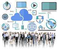Big Data Sharing Online Global Communication Cloud Concept Royalty Free Stock Photos