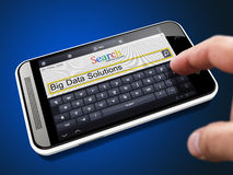 Big Data Solutions - Search String on Smartphone. Royalty Free Stock Images