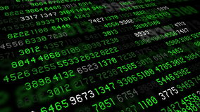Big data stream numbers green and white stock footage