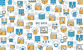Big data technology banner. Modern icons on theme storage, analysis, organization, synchronization and data transfer. Flat line design icons collection. Vector Royalty Free Stock Images