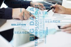 Big data technology and internet concept on the virtual screen. Words cloud. Big data technology and internet concept on the virtual screen. Words cloud stock photo