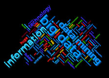 Big data themed word cloud with information and data mining text arrangement Stock Image