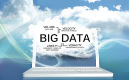 Big Data The V's on a Laptop with Clouds Stock Photos