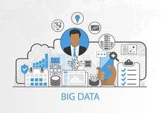 Big data vector background with business man and icons Stock Images
