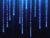 Big data vector concept with falling down glowing binary numbers. Digital matrix computer background Stock Image