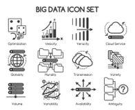 Big data vector icons. Big data characteristics icons. Big data Variety and Velocity, Big data Volume and Variability. Vector illustration Stock Images