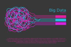 Big data vector illustration. Machine learning algorithm for information filter and anaytic in flat doodle style.  Stock Images