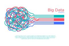 Big data vector illustration. Machine learning algorythm for information filter and anaytic in flat doodle style stock illustration