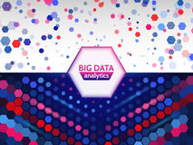 Big data visualization. Abstract geometric background with letter code and hexagons. Stock Image