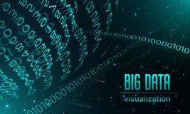 Big data visualization banner, realistic style vector illustration
