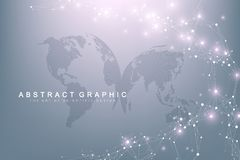 Big data visualization. Graphic abstract background communication. Perspective backdrop. Minimal array. Digital data. Visualization. Representing the global Stock Illustration