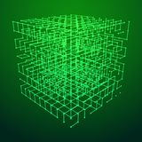 Wireframe Mesh Cube. Big data visualization. HUD grid corners wireframe mesh cube. Analysis of information. Visual data infographics design. Science and royalty free illustration