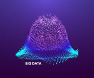 Big data visualization. Wavy background with dynamic effect. 3d perspective grid. Abstract vector illustration with dots.