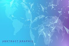 Big data visualization with a world globe. Abstract vector background with dynamic waves. Global network connection. Technological sense abstract illustration royalty free illustration