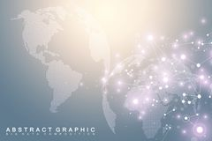 Big data visualization with a world globe. Abstract vector background with dynamic waves. Global network connection. Technological sense abstract illustration Royalty Free Stock Image