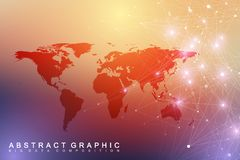 Big data visualization with a world map. Abstract vector background with dynamic waves. Global network connection. Technological sense abstract illustration Stock Images