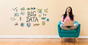 Big data with woman using a laptop royalty free stock photo