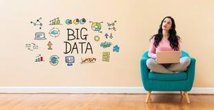 Big data with woman using a laptop. Big data with young woman using a laptop computer royalty free stock photo