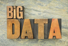 Big data in wood type Royalty Free Stock Photo