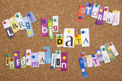 Big Data Word Cloud. On corkboard Royalty Free Stock Images