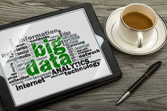Big data word cloud. With related tags Stock Image