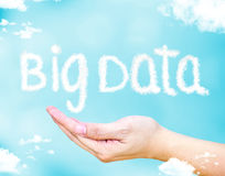 Big data word floating on open hand with light blue sky with clo Stock Photos