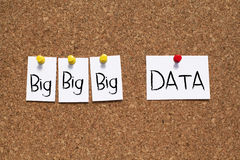 Big Data. Word notes on corkboard royalty free stock images