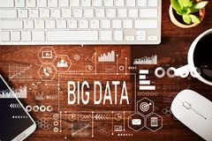 Big Data with workstation stock photos