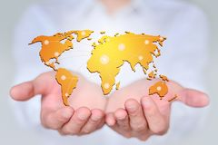 Big data in the world in your hands, the concept of creative map.  royalty free stock photography