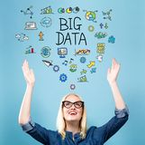 Big Data with young woman stock image