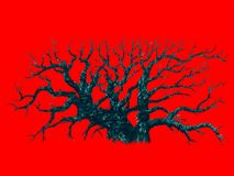Big dead tree on red background stock illustration