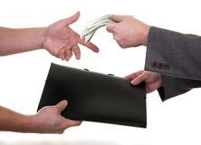 Big deal. Two men exchange money and folder (big deal Stock Photo