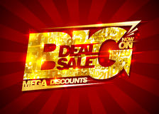 Big deal sale, mega discounts, rich golden banner with rays Royalty Free Stock Images