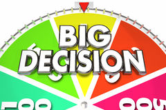 Big Decision Game Spinning Wheel Choose Choice. 3d Illustration Stock Photography