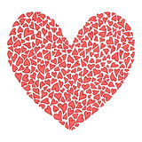 Big decorative heart with lot of valentines heart Stock Images