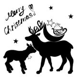 A big deer with the moon and gifts from Santa on the back and a. Small deer royalty free illustration