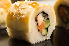Big delicious beautiful roll with sesame stock photo